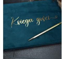 Złote/srebrne napisy na Księdze Gości